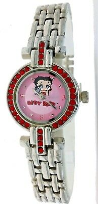 New Betty Boop Watch Round Red Rhinestone Bezel Metal Case And Band Pink Dial