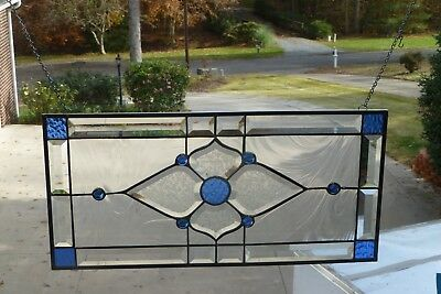 Free Shipping! Beautiful Blue Stain Glass and Beveled Transom