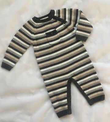 ANGEL DEAR Boy GRAY & WHITE Striped SWEATER KNIT LONGALL OUTFIT Infant 3-6 Month
