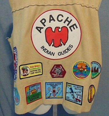 Boy scout YMCA Illinois Guide Camping Hastings Lake Apache Patch Vest 1996 Boy L