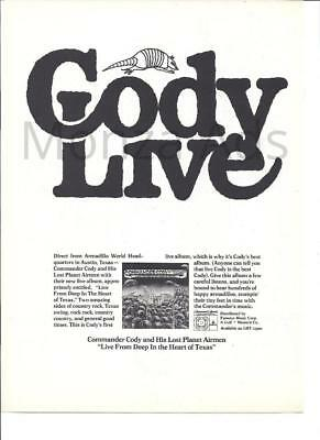 """1974 Commander Cody """"Live From Deep in the Heart of Texas"""" Album Ad"""