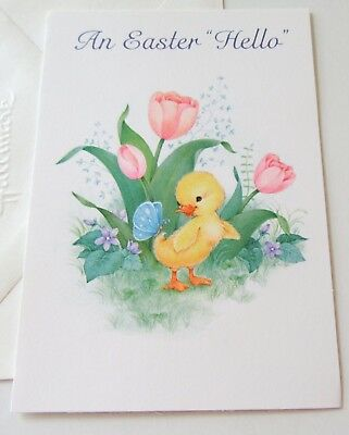 Unused Vtg Easter Card Cute Yellow Chick Duck w Blue Butterfly Violets Tulips
