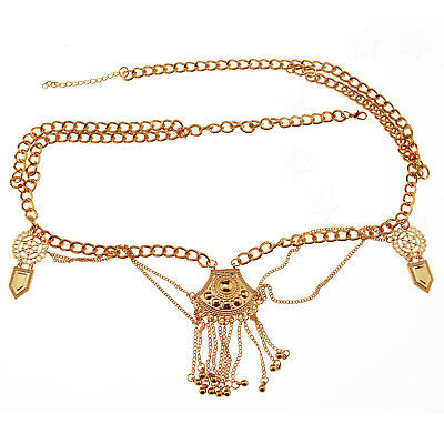 Women Sexy Bikini Beach Gold Harness Necklace Waist Belly Body Chain Jewelry