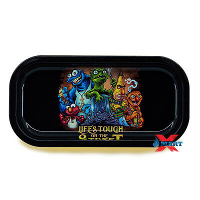 BACKWOODS - Life's Tough on the Street Tobacco Metal Small Rolling Tray 4x8