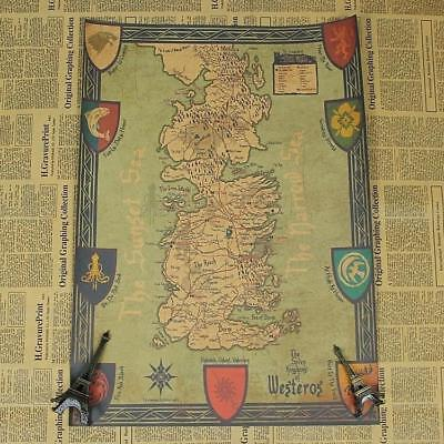 Game of Thrones World Map Kraft Paper Movie Posters Vintage Wall Art Craft New