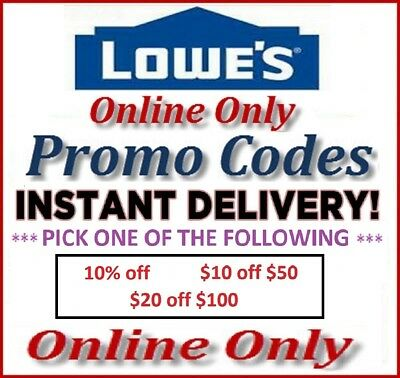 1-3-5 Lowes Store Promotional Discount Codes 10%, 20 off 100, 10 off 50 Instant