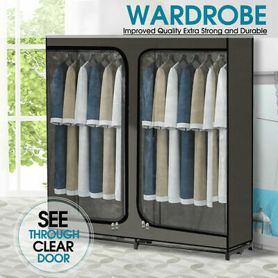 Large Portable Clothes Closet Wardrobe Storage Organizer with Visible Clear Door