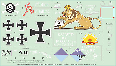 MEPHISTO Decals: WWI German A7V Tank - 1/35, 1/16 1/48 1/56 1/72 1/76 1/100