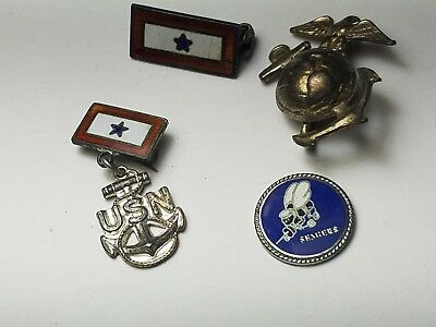 Vintage Lot of 4 Sterling Silver U.S. Navy & Seabees Pins