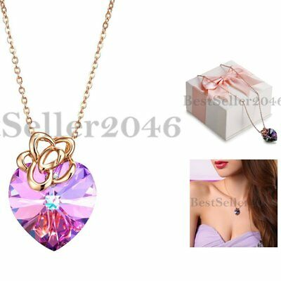 Sterling Silver Crystal Love Heart Necklace Made with Swarovski Elements Purple