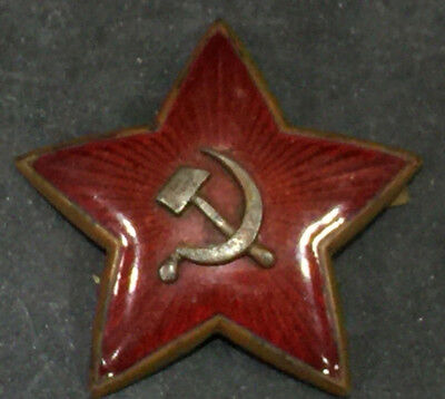 WWII USSR Soviet Russia Russian Enamel Red Star Hat Badge Hammer sickle large