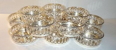 Vintage Italy Exclusively for Bonwit Teller Set 12 Silver Plate Drink Coasters