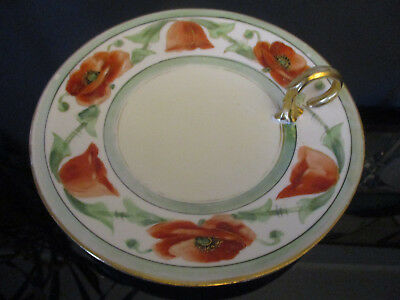 Antique PL Limoges Hand Painted Poppy French Porcelain Serving Tray Plate Signed