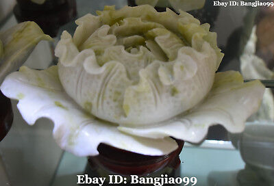 "8"" Top Chinese Natural Green Jade Cabbage Baicai Bok Choy Wealth Bai Cai Statue"