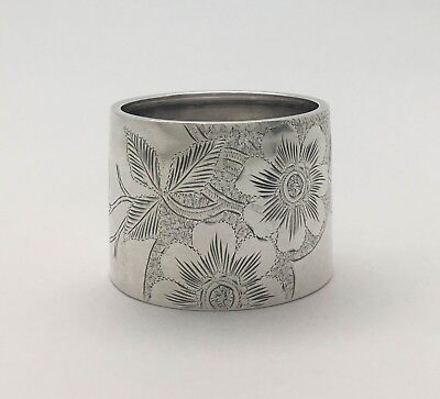"""A Fine Victorian Aesthetic Bright Cut Engraved Sterling Silver Napkin Ring """"HAJ"""""""