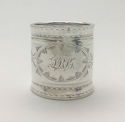 """Superb Antique Aesthetic Engraved Sterling Silver Napkin Ring """"LRB"""""""