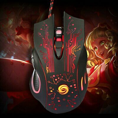 Ergonomic USB Wired Colorful Backlit Optical Gaming Mouse 6 Button For Laptop PC