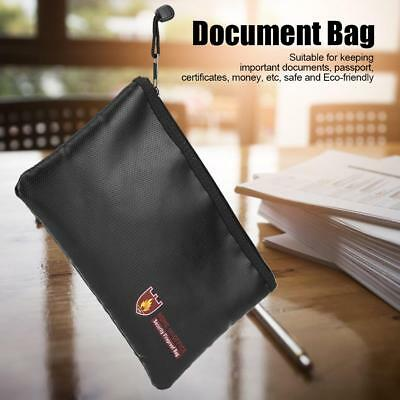 Fire Resistant Waterproof Money Safe Cash Box Document Bag File Pouch Case Black