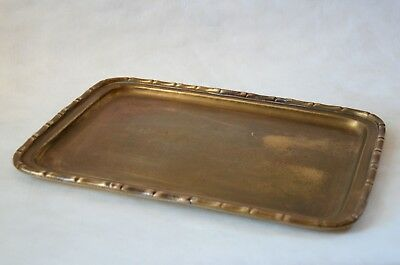 Antique Faux Bamboo Edge Brass Tray Vintage Mid-Century MCM Bar Cocktail India