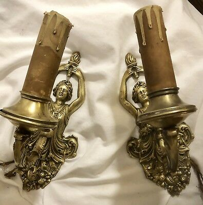 Brass vintage wall sconces/lamps pair