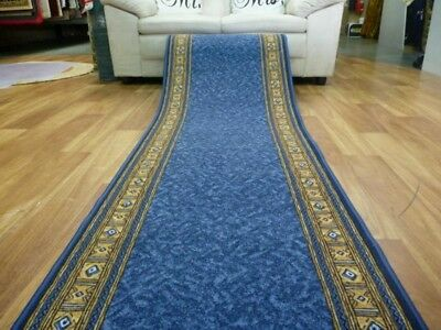 Hallway Runner Rugs Epos 67cm wide Blue by the meter Rubber Backed