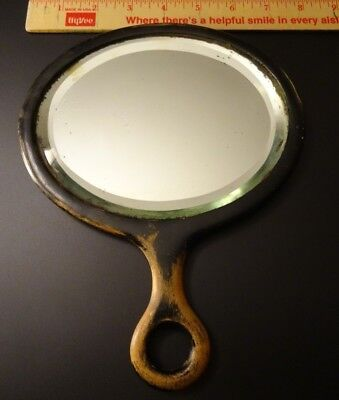 Antique HEAVY THICK Bevelled Glass Wood Handled Silver HAND MIRROR Early 1900s??