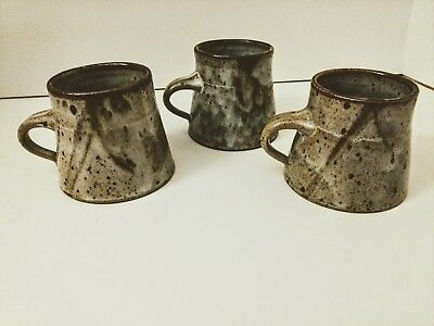 Tea Cup Set Japanese Rustic Ceramic Style Natural Pottery Signed Pieces