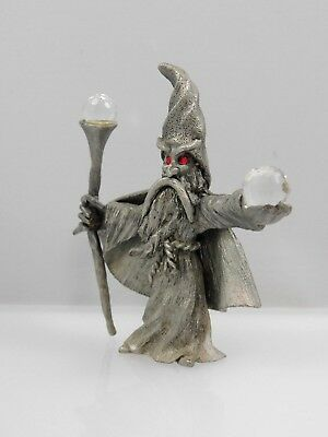 Vintage 1985 Spoontiques CMR591 Pewter Red Eyed Wizard with Crystal Balls