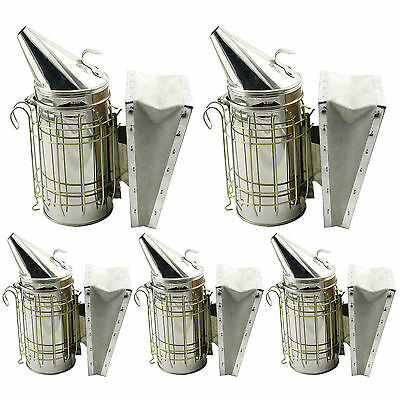 Set of 5 Bee Hive Smoker Stainless Steel w/ Heat Shield Beekeeping Equipment /