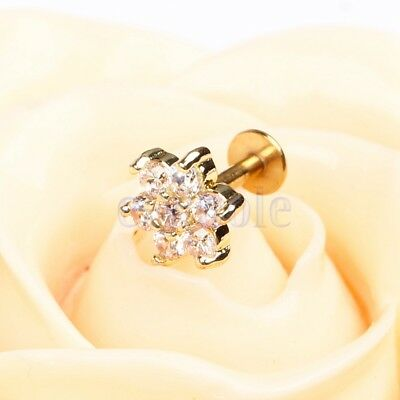 Gold Plated 16G Cubic Zirconia flower Lip Rings Labret Nose Studs Helix Stud DT