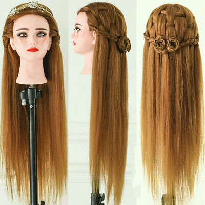 """24""""Salon Real Human Hair Training Head Hairdressing Styling Mannequin Doll+Clamp"""