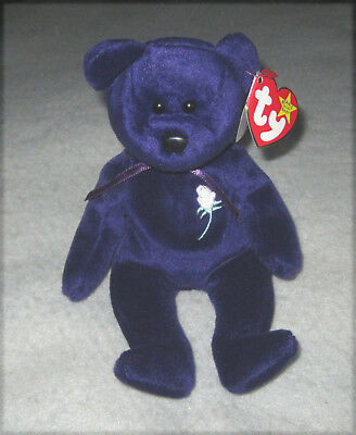 1997 Ty Beanie Baby Bear PRINCESS DIANA with CASE Indonesia PE PELLETS purple