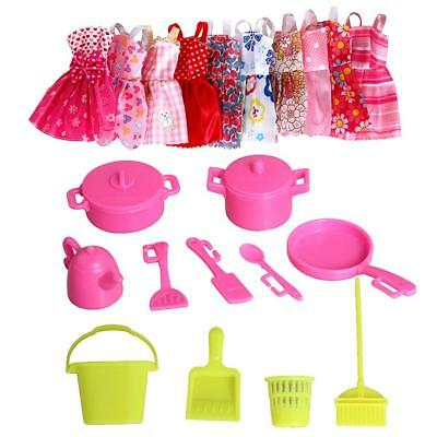 85PCS for Barbie Dolls 10 Outfits Dresses 75 Accessories Set Shoes jewellery AU