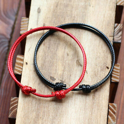 2Pcs Fashion Men's Women Charm Simple Wax Rope Bracelet Adjust Jewelry Gift