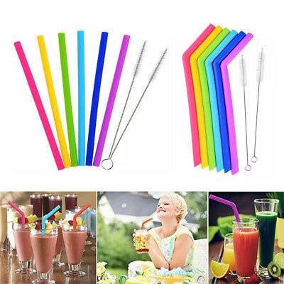 6PC Reusable Drinking Straw Silicone Straight&Bent Straws Cleaning Brushes 1