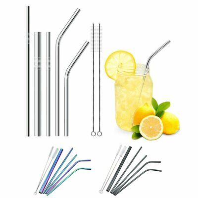5Pcs Stainless Steel Drinking Metal Straw Reusable Straws Cleaner Brush Kit MN