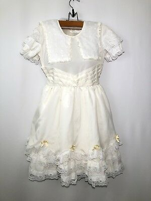 VTG Girls Party Dress Ivory Ruffle Lace Sz 12