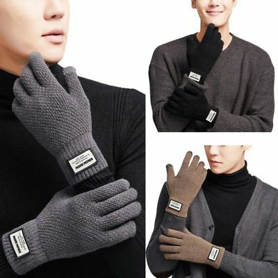 Men's Thermal Lined Winter Warm Knit Gloves Outdoor Sports Touch Screen Gloves
