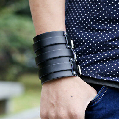 Black Leather Belt Wristband Bangle Cuff Bracelet Wide Adjustable Retro Punk