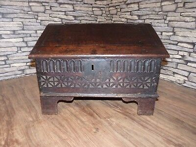 Ancient Primitive Antique Georgian Carved Country Oak Bible Box. Circa 1740
