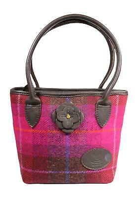 a4a0001ac4 Wild Scottish Deerskin Leather Authentic Purple Harris Tweed Daisy Tote Bag