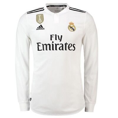 Mens L Real Madrid Home Authentic Shirt 2018-19 - Long Sleeve UCL+CWC Badges RM9