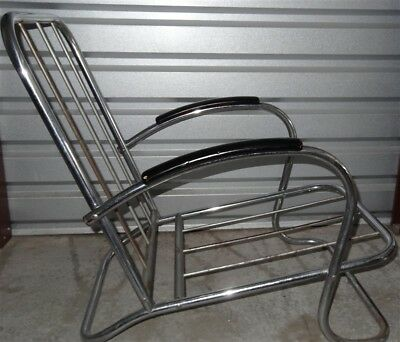 1930s Art Deco Machine Age Moderne Black & Chrome Lounge Chair Lloyd Kem Weber