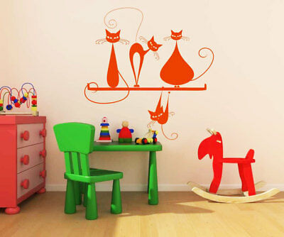 Happy Cats WALL STICKER Sizes 56 Colours Baby Kids Bedroom Decoration Animals