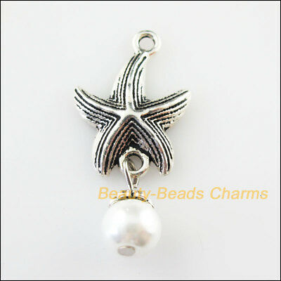 4 New Animal Starfish Charms White Glass Beads Pendants Tibetan Silver 17x35mm