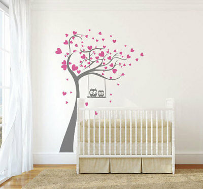 Hearts Owls Tree WALL STICKER 56 Colours Baby Kids Bedroom Wall Decoration KIDS3