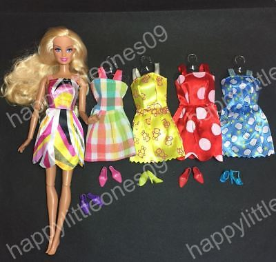 5x Barbie Doll Party Evening Dress/Clothes/Outfit and 5 pairs of Doll Shoes New