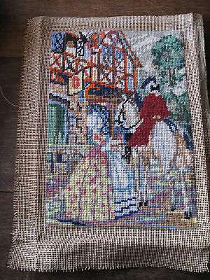 Vintage tapestry Crinoline Lady  Antique hand embroidered  tapestry  Panel