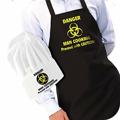 IGGI Cooking Apron and Hat with Slogan DANGER Man Cooking Gift Set Colour Black