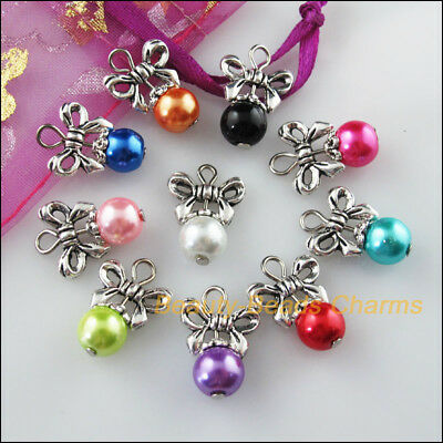 10 New Charms Mixed Round Glass Beads Pendant Tibetan Silver Butterfly 13.5x20mm